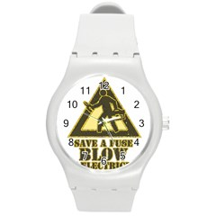 Save A Fuse Blow An Electrician Round Plastic Sport Watch (m)