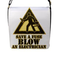 Save A Fuse Blow An Electrician Flap Messenger Bag (l)