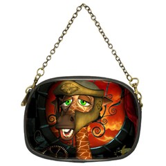 Funny Giraffe With Helmet Chain Purses (two Sides)
