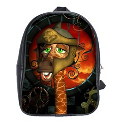 Funny Giraffe With Helmet School Bag (large)