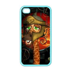 Funny Giraffe With Helmet Apple Iphone 4 Case (color)