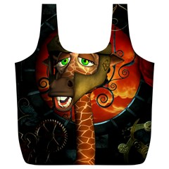 Funny Giraffe With Helmet Full Print Recycle Bags (l)