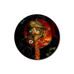 Funny Giraffe With Helmet Rubber Round Coaster (4 Pack)