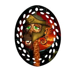 Funny Giraffe With Helmet Oval Filigree Ornament (two Sides)