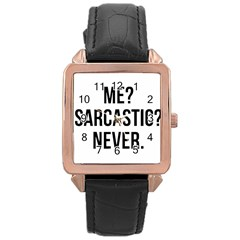 Me Sarcastic Never Rose Gold Leather Watch
