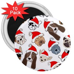 Christmas Puppies 3  Magnets (10 Pack)