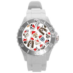 Christmas Puppies Round Plastic Sport Watch (l)