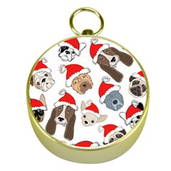 Christmas Puppies Gold Compasses