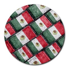Mexican Flag Pattern Design Round Mousepads