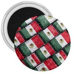 Mexican Flag Pattern Design 3  Magnets