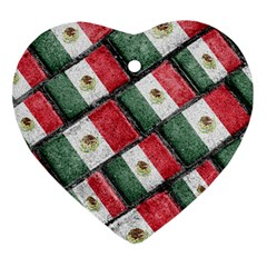 Mexican Flag Pattern Design Ornament (heart)