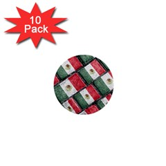 Mexican Flag Pattern Design 1  Mini Buttons (10 Pack)