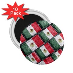 Mexican Flag Pattern Design 2 25  Magnets (10 Pack)