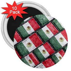 Mexican Flag Pattern Design 3  Magnets (10 Pack)