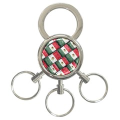 Mexican Flag Pattern Design 3 Ring Key Chains