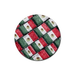 Mexican Flag Pattern Design Rubber Round Coaster (4 Pack)