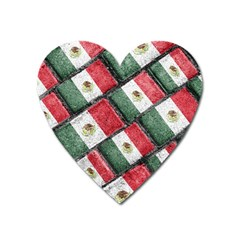 Mexican Flag Pattern Design Heart Magnet