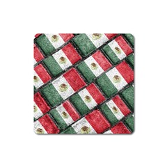 Mexican Flag Pattern Design Square Magnet