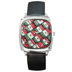 Mexican Flag Pattern Design Square Metal Watch