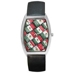 Mexican Flag Pattern Design Barrel Style Metal Watch