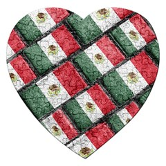 Mexican Flag Pattern Design Jigsaw Puzzle (heart)