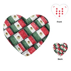Mexican Flag Pattern Design Playing Cards (heart)