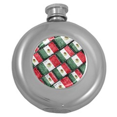 Mexican Flag Pattern Design Round Hip Flask (5 Oz)