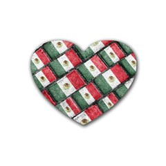 Mexican Flag Pattern Design Heart Coaster (4 Pack)