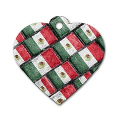 Mexican Flag Pattern Design Dog Tag Heart (two Sides)