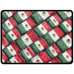 Mexican Flag Pattern Design Fleece Blanket (large)