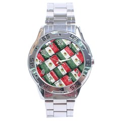 Mexican Flag Pattern Design Stainless Steel Analogue Watch