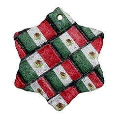 Mexican Flag Pattern Design Snowflake Ornament (two Sides)