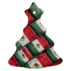 Mexican Flag Pattern Design Christmas Tree Ornament (two Sides)