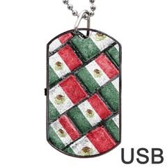 Mexican Flag Pattern Design Dog Tag Usb Flash (two Sides)