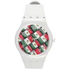 Mexican Flag Pattern Design Round Plastic Sport Watch (m)
