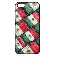 Mexican Flag Pattern Design Apple Iphone 5 Seamless Case (black)
