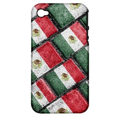 Mexican Flag Pattern Design Apple Iphone 4/4s Hardshell Case (pc+silicone)