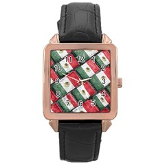 Mexican Flag Pattern Design Rose Gold Leather Watch