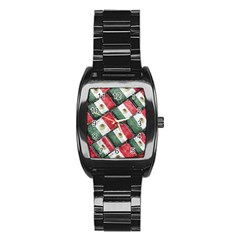 Mexican Flag Pattern Design Stainless Steel Barrel Watch