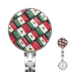 Mexican Flag Pattern Design Stainless Steel Nurses Watch