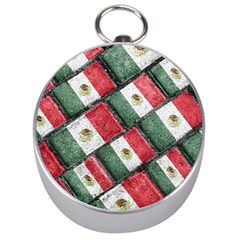 Mexican Flag Pattern Design Silver Compasses