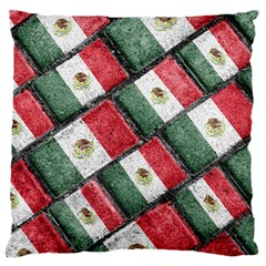 Mexican Flag Pattern Design Large Flano Cushion Case (two Sides)