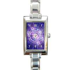 Blue Fractal Alchemy Hud For Bending Hyperspace Rectangle Italian Charm Watch