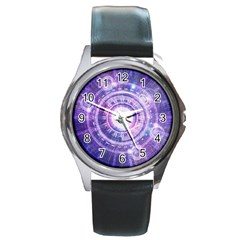 Blue Fractal Alchemy Hud For Bending Hyperspace Round Metal Watch