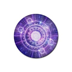 Blue Fractal Alchemy Hud For Bending Hyperspace Rubber Coaster (round)
