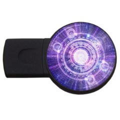 Blue Fractal Alchemy Hud For Bending Hyperspace Usb Flash Drive Round (2 Gb)