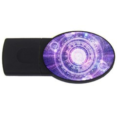 Blue Fractal Alchemy Hud For Bending Hyperspace Usb Flash Drive Oval (2 Gb)