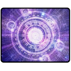 Blue Fractal Alchemy Hud For Bending Hyperspace Fleece Blanket (medium)