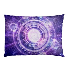 Blue Fractal Alchemy Hud For Bending Hyperspace Pillow Case (two Sides)
