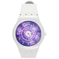 Blue Fractal Alchemy Hud For Bending Hyperspace Round Plastic Sport Watch (m)